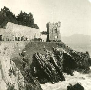 Italy Liguria Riviera Genoa Nervi Tower Gropallo Old NPG Stereo Photo 1900