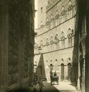 Italy Tuscani Siena Palazzo Saracini Old NPG Stereo Photo 1900