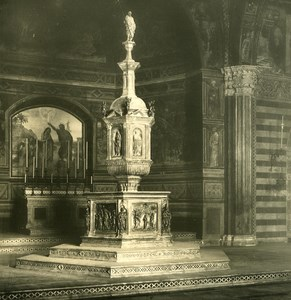 Italy Tuscani Siena S Giovanni Church Interior Old NPG Stereo Photo 1900