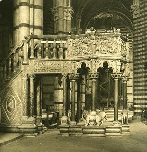 Italy Tuscani Siena Cathedral Interior Old NPG Stereo Photo 1900