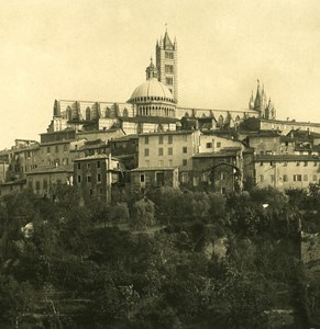 Italy Tuscani Siena Panorama Old NPG Stereo Photo 1900