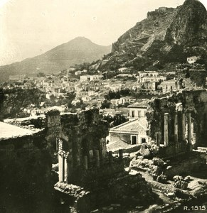 Italy Sicily Taormina Greek Theatro Old NPG Stereo Photo 1900