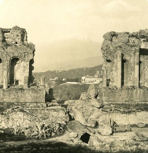 Italy Sicily Taormina Ruins Old NPG Stereo Photo 1900