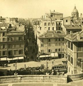 Italy Roma Panorama of Trinita de Monti Old NPG Stereo Photo 1900