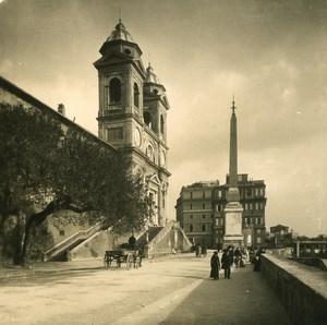 Italy Roma Trinita de Monti Square & Obelisk Old NPG Stereo Photo 1900
