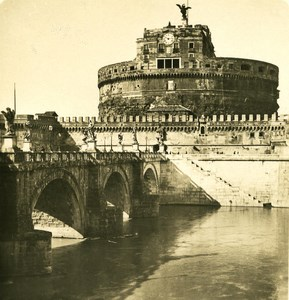 Italy Roma Castle San Angelo Old NPG Stereo Photo 1900