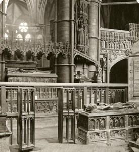 United Kingdom London Westminster Abbey Detail Old Rotary Stereo Photo 1900