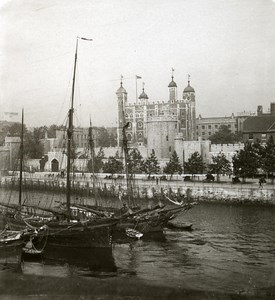 United Kingdom London Tower of London Thames Old Rotary Stereo Photo 1900