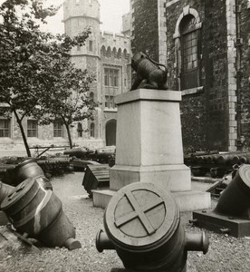 United Kingdom London Tower of London Mortars Old Rotary Stereo Photo 1900