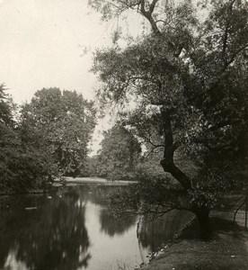United Kingdom London Buckingham Palace Lake Old Rotary Stereo Photo 1900