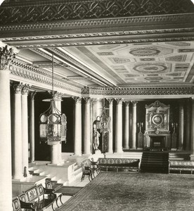 United Kingdom London Buckingham Palace Marble Hall Old Rotary Stereo Photo 1900