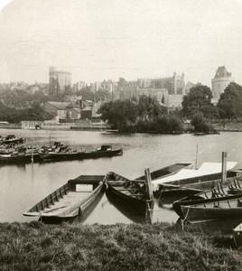 United Kingdom Windsor Castle Panorama Old Rotary Stereo Photo 1900