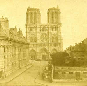 France Paris Church Notre Dame Restoration in Progress Stereo Photo Ninet 1857