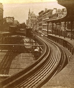 USA New York 42nd Street Branch Old Popular Series Stereo Photo 1870
