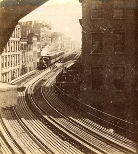 USA New York Elevated Railway Old Popular Series Stereo Photo 1870