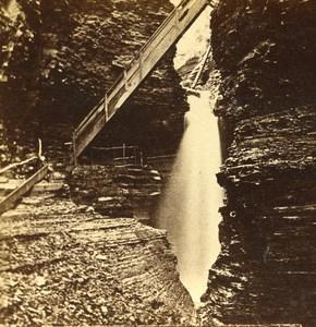 USA New York Cascade Cavern Watkins Glen Old Popular Series Stereo Photo 1870