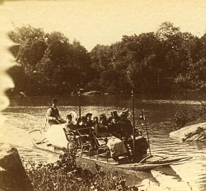 USA New York Central Park Boat Promenade Old Popular Series Stereo Photo 1870