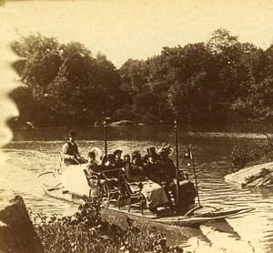 USA New York Central Park Boat Promenade Old Popular Series Stereo Photo 1870