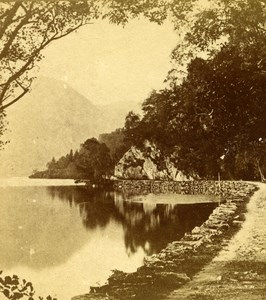 United Kingdom Scotland Path by the Loch Old Popular Series Stereo Photo 1870
