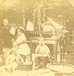 USA Manufacturing of Model Sailboat Old Popular Series Stereo Photo 1870
