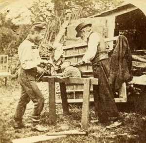 USA The Grinder Old Popular Series Stereo Photo 1870
