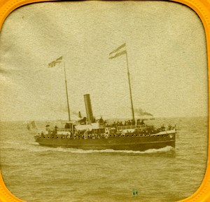France Steamer Channel Crossing old Stereo Tissue Photo 1865