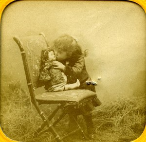 France Paris Little Girl and her Doll old Stereo Tissue Photo 1865