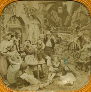 France Paris The Fortune Teller Card old Stereo Tissue Photo 1865