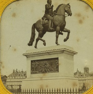 France Paris Henri IV Statue old Stereo Tissue Photo 1865