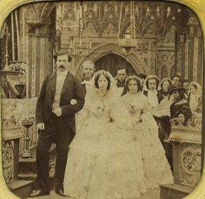 France Paris Wedding Ceremony old Stereo Tissue Photo 1865