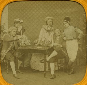 France Paris Game Cards Fantasy old Genre Stereo Tissue Photo 1865