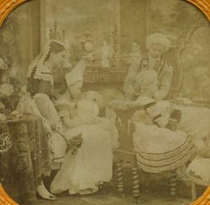 France Paris Reconstitution XVIII century old Stereo Tissue Photo 1865