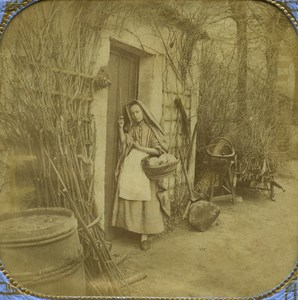 France Little Red Riding Hood old Stereo Tissue Photo Marinier 1865