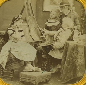 France Paris Painter and his Model old Stereo Tissue Photo 1865