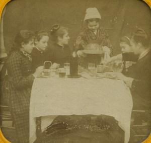 France Paris Children's Supper old Stereo Tissue Photo 1865