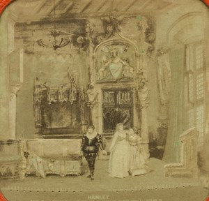 France Theatrical News Hennetier Hamlet old Stereo Tissue Photo Marinier 1865