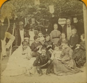 France Paris Street Party Paper Lanters old Stereo Tissue Photo 1865