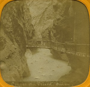 Switzerland Trient Canyon old Stereo Tissue Photo 1865