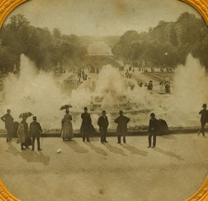 France Castle of Versailles Water Fountain old Stereo Tissue Photo 1865