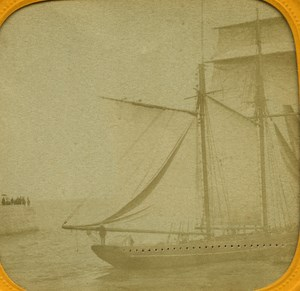 France Le Havre Harbour Ship Sailboat old Stereo Tissue Photo 1865