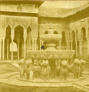 Spain Granada Alhambra Castle Court of Lions old Stereo Photo 1865