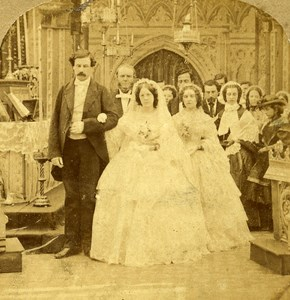France Paris Second Empire Marriage Church Ceremony old Stereo Photo 1865