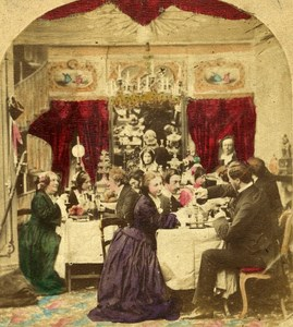 France Paris Family Meal Second Empire old hand colored Genre Stereo Photo 1865