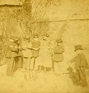 France Paris Children in the Garden Skittles old Stereo Photo 1865