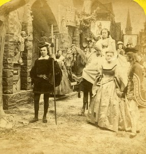 France Paris Genre Scene Falconry Hunting old Stereo Photo Gaudin 1865