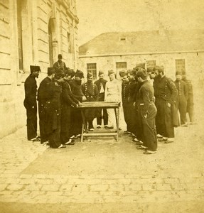 France Paris Military School Playing in the Yard old Stereo Photo 1865