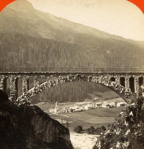 Austria Bridge of Waldli Tobel Uorailberg old Stereo Photo 1890