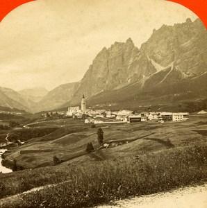 Italy Cortina im Ampezzo panorama old Stereo Photo 1890