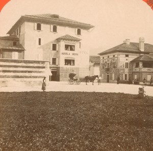 Italy Cortina Hotel Aquila Nera old Stereo Photo Unterberger 1890