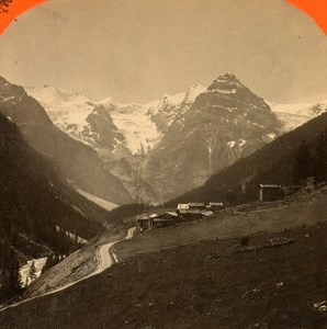Italy Stilfs Stelvio Trafoi Panorama old Stereo Photo Unterberger 1890